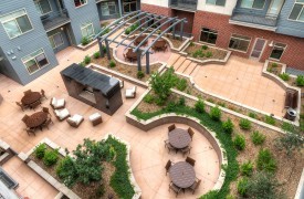 Mixed-use multifamily apartment building courtyard