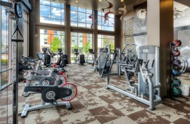 Mixed-use multifamily apartment building gym