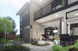 single family home outdoor space rendering