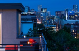 Infill Townhome Downtwon Denver skyline view from rooftop deck