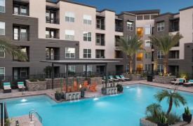Pool deck at the multifamily apartment the Flats at San Tan in Phoenix, Arizona