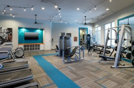 The fitness room in the multifamily apartment community The Flats at San Tan in Phoenix, Arizona