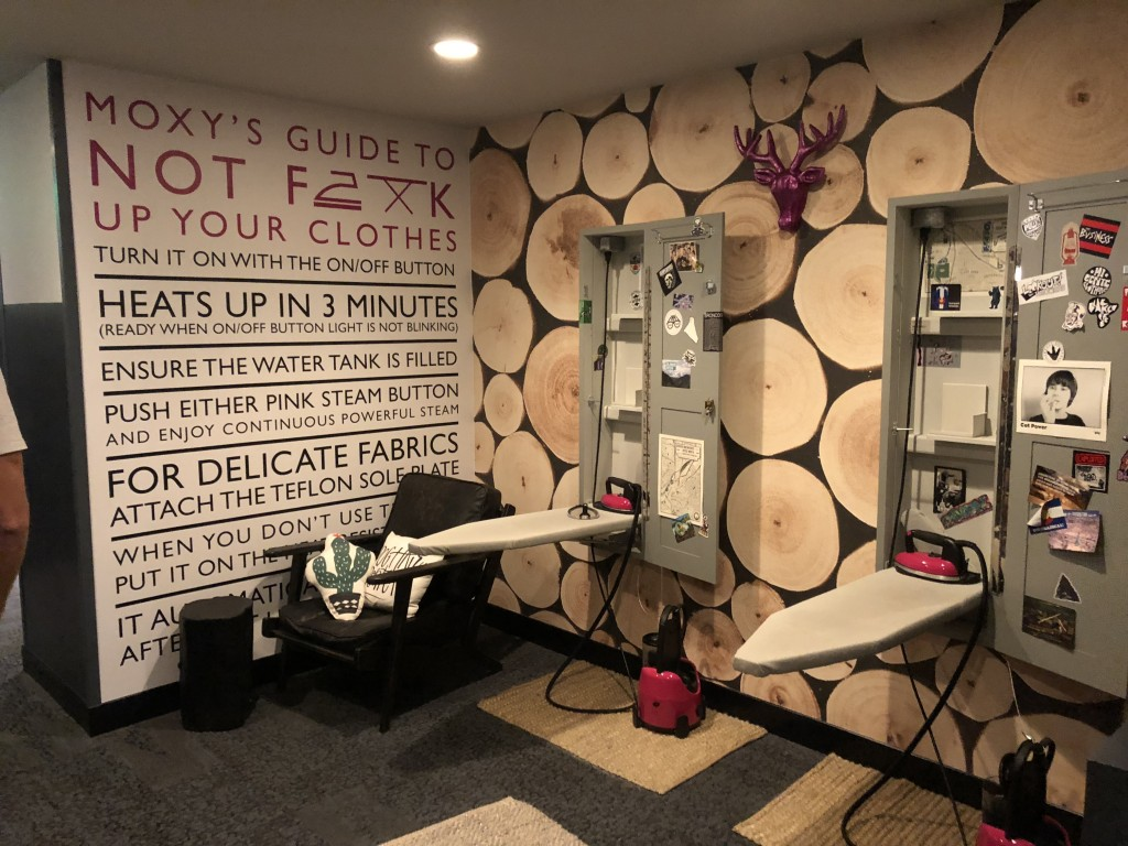 Ironing room at Moxy Cherry Creek Hotel in Denver, Colorado