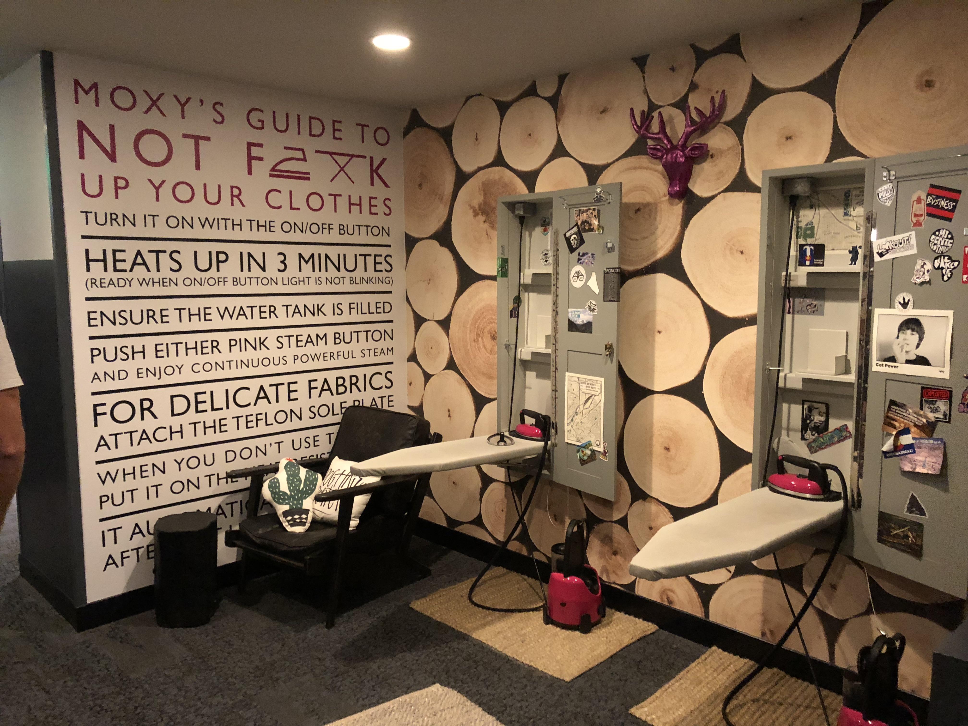 Ironing room at Moxy Cherry Creek Hotel in Denver, Colorado