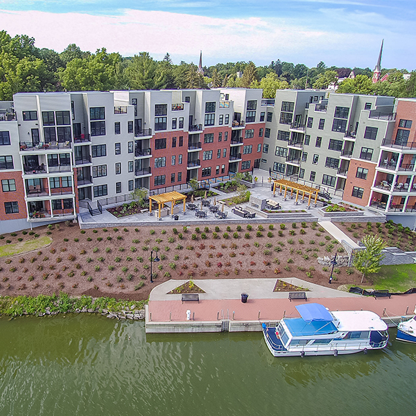 Aerial view of The Residences at Canalside condos in New York